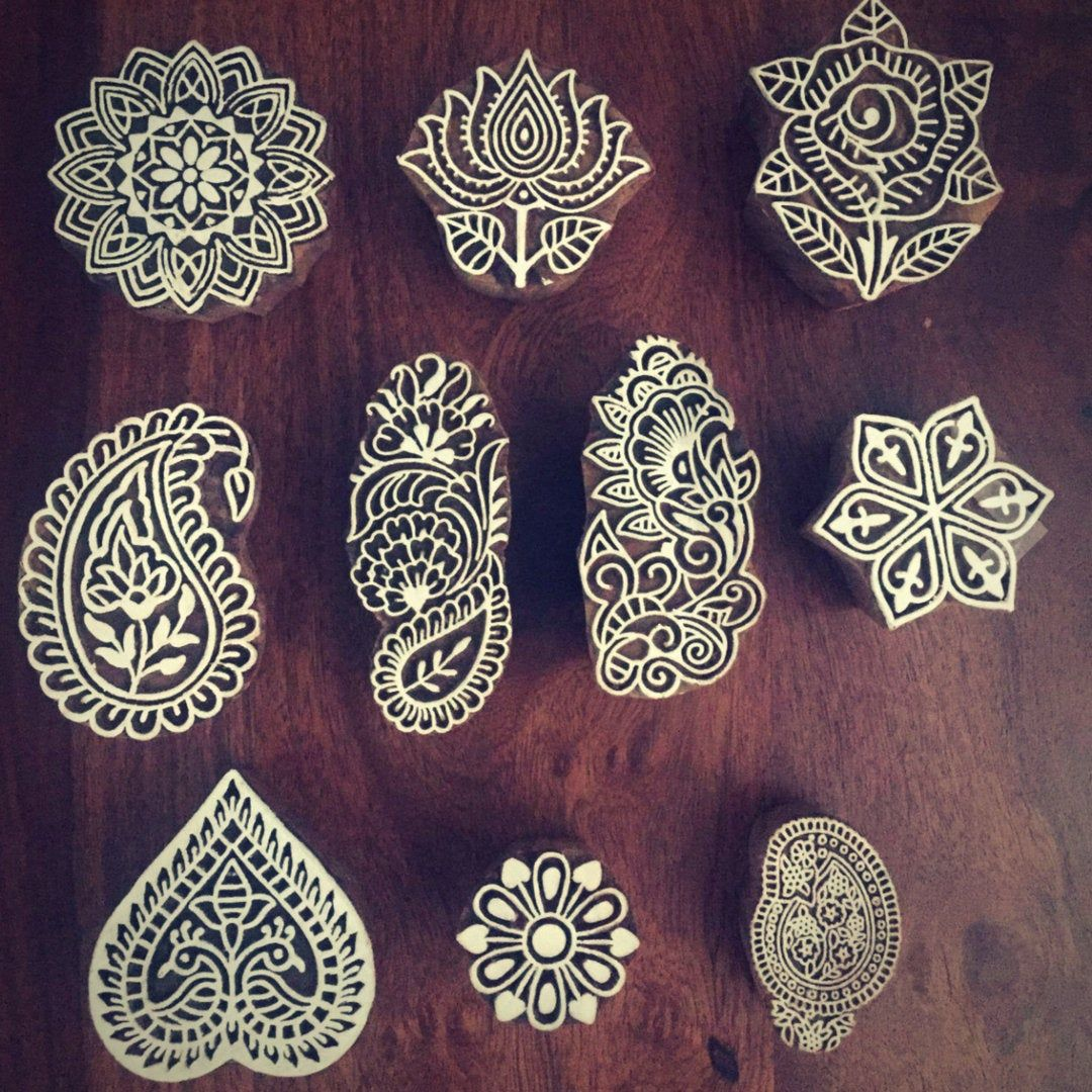 Hand Carved Indian Block Printing Stamp Textile Printing Wooden Stamp for Printing Textile  Paper Printing Stamp Stamp Block Christmas gift
