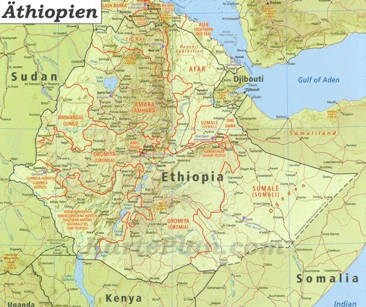 Grosse Detaillierte Karte Von Athiopien Planer