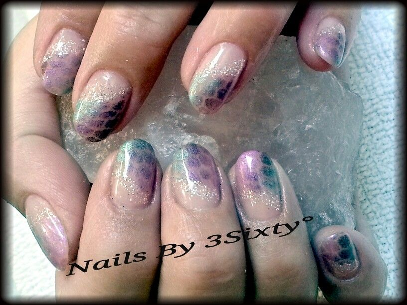 Pink blue and purple pigment over netting. Snake skin effect nail ...