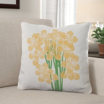 Winston Porter Marinello Floral Print Throw Pillow Throw Pillows