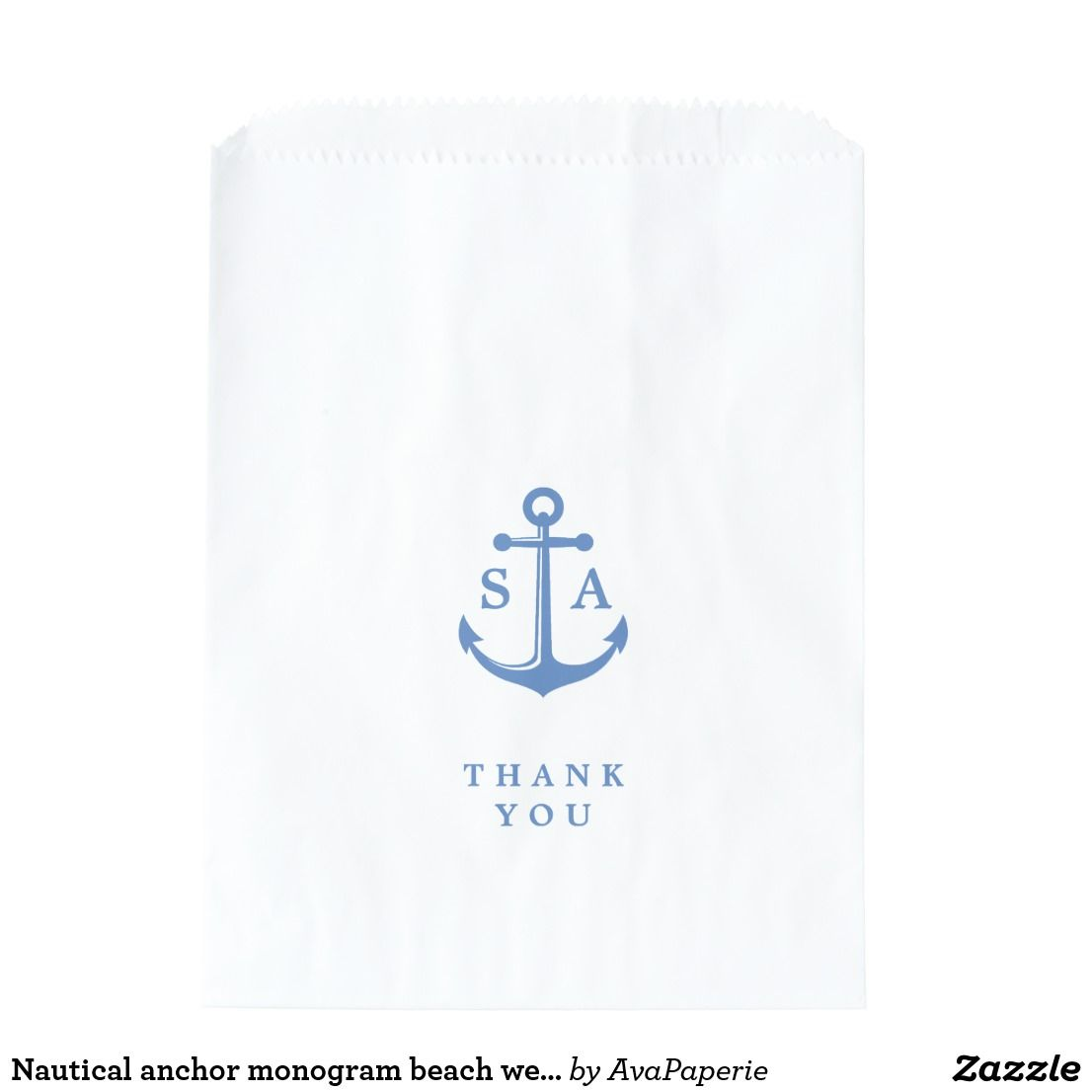 Nautical anchor monogram beach wedding thank you favor bag Nautical ...