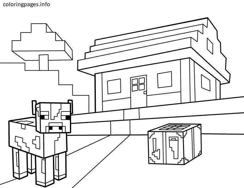 Minecraft House Coloring Page Minecraft Coloring Pages Free