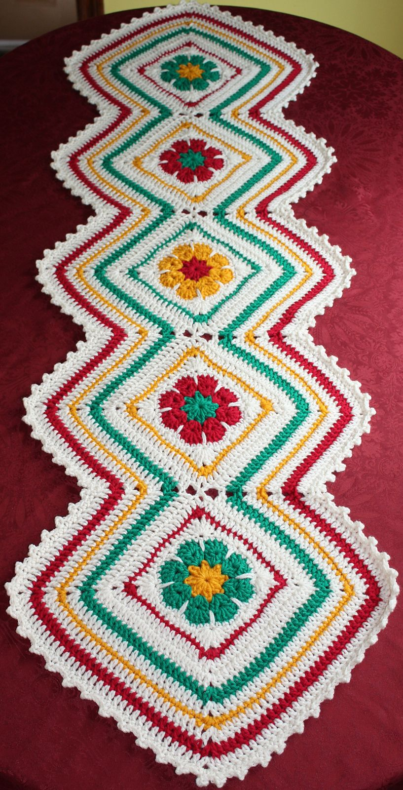 Joyful Flowers Table Runner By Maria Bittner - Free Crochet Pattern ...