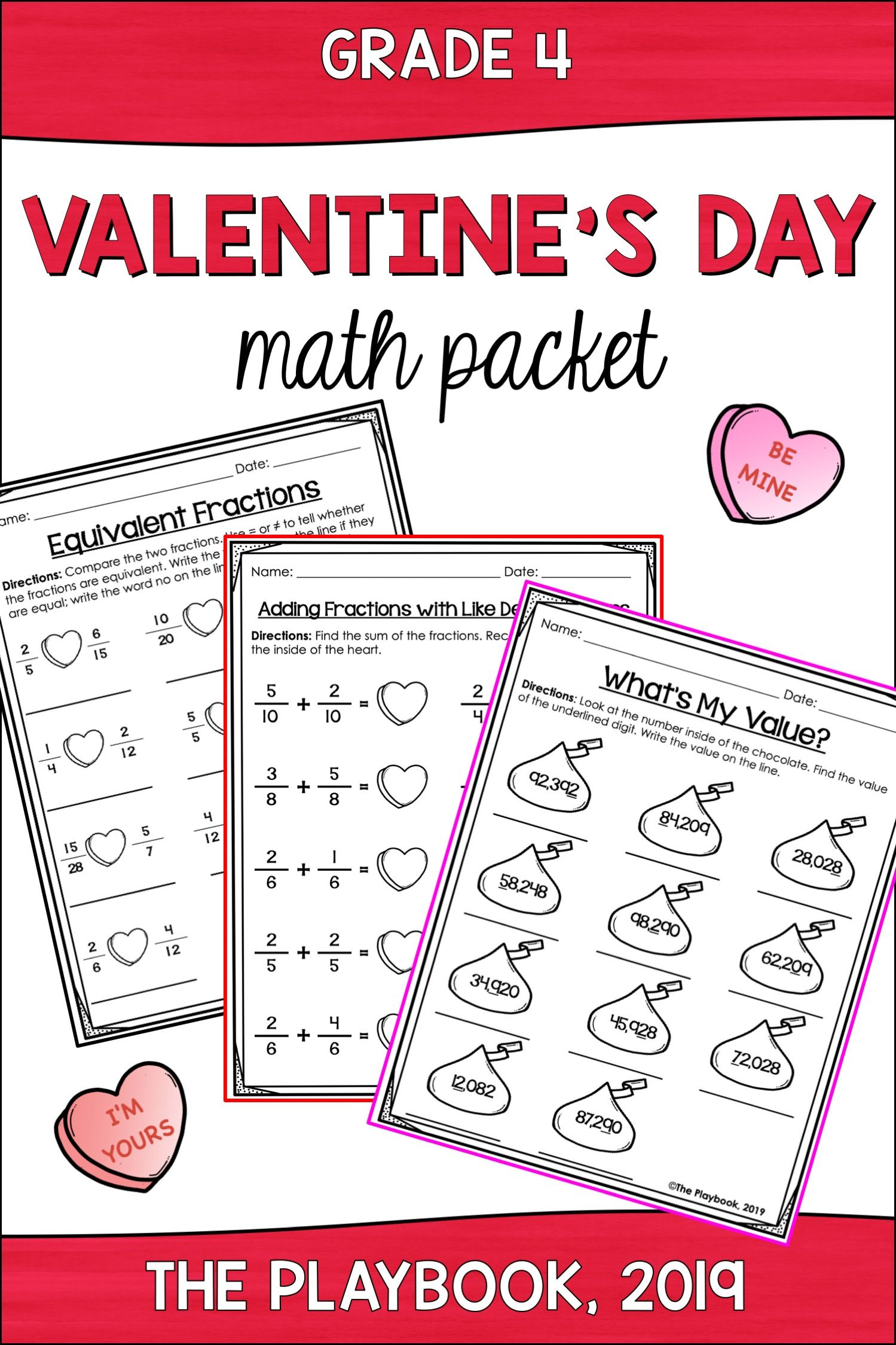 Valentine S Day Math Activities 4th Grade Math Pack