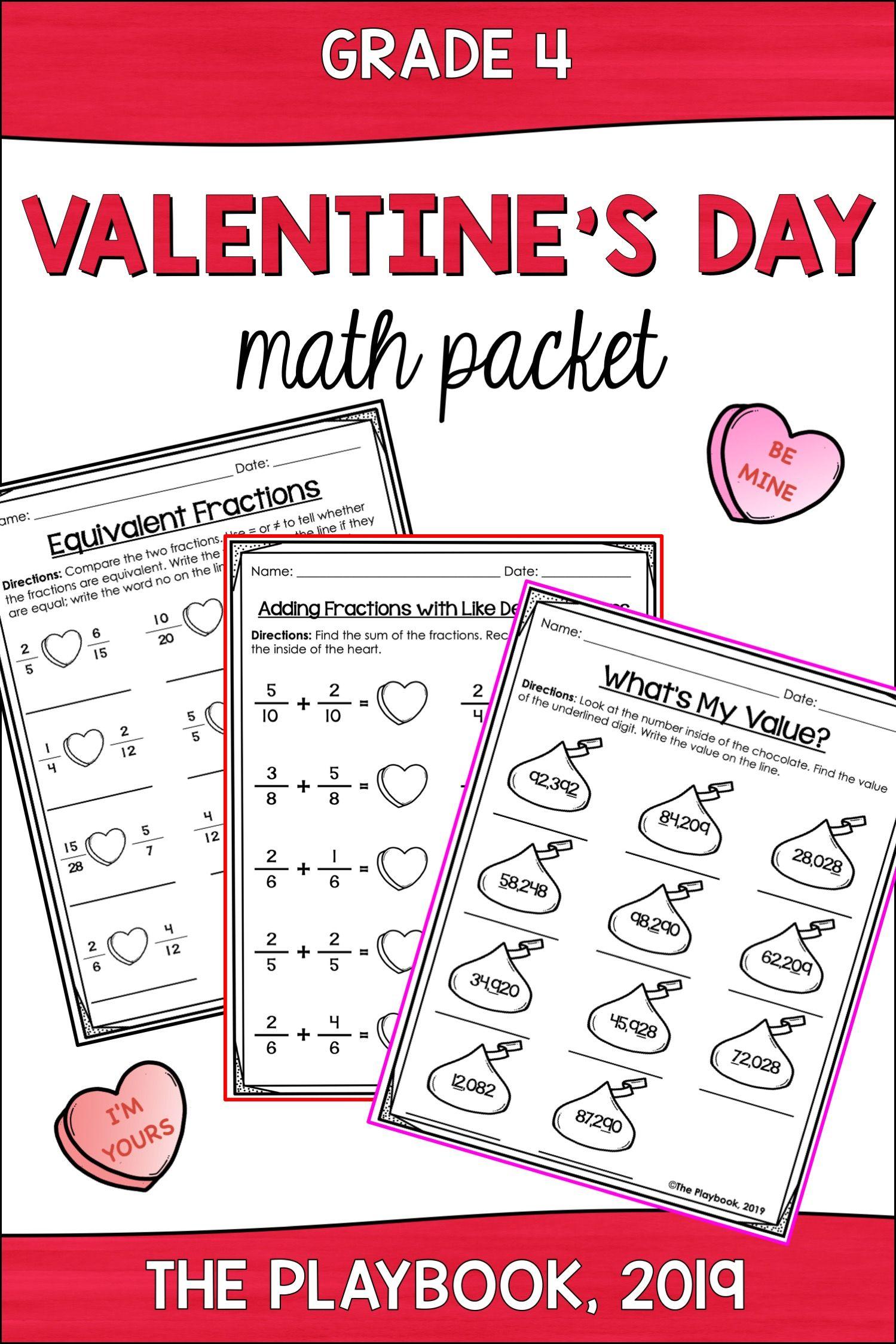 Valentine S Day Math Activities 4th Grade Math Pack