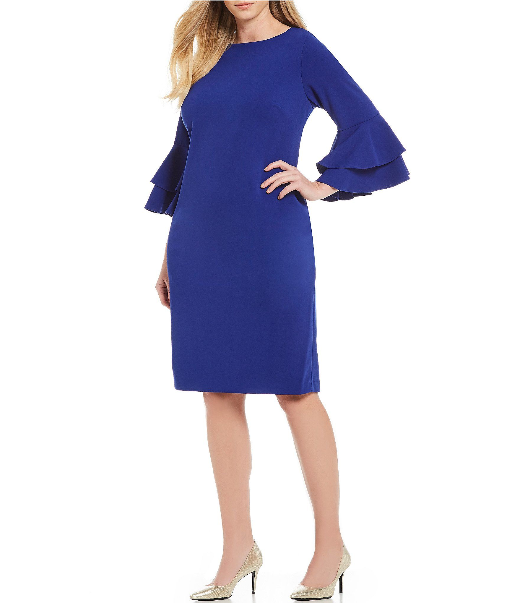 21a7a3bed28 Shop for Calvin Klein Plus Size Tiered Bell Sleeve Sheath Dress at Dillards.com.  Visit Dillards.com to find clothing
