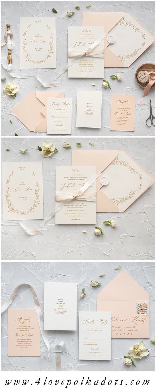 Wedding Invitations Calligraphy Pastel Wedding Invitations Ribbon