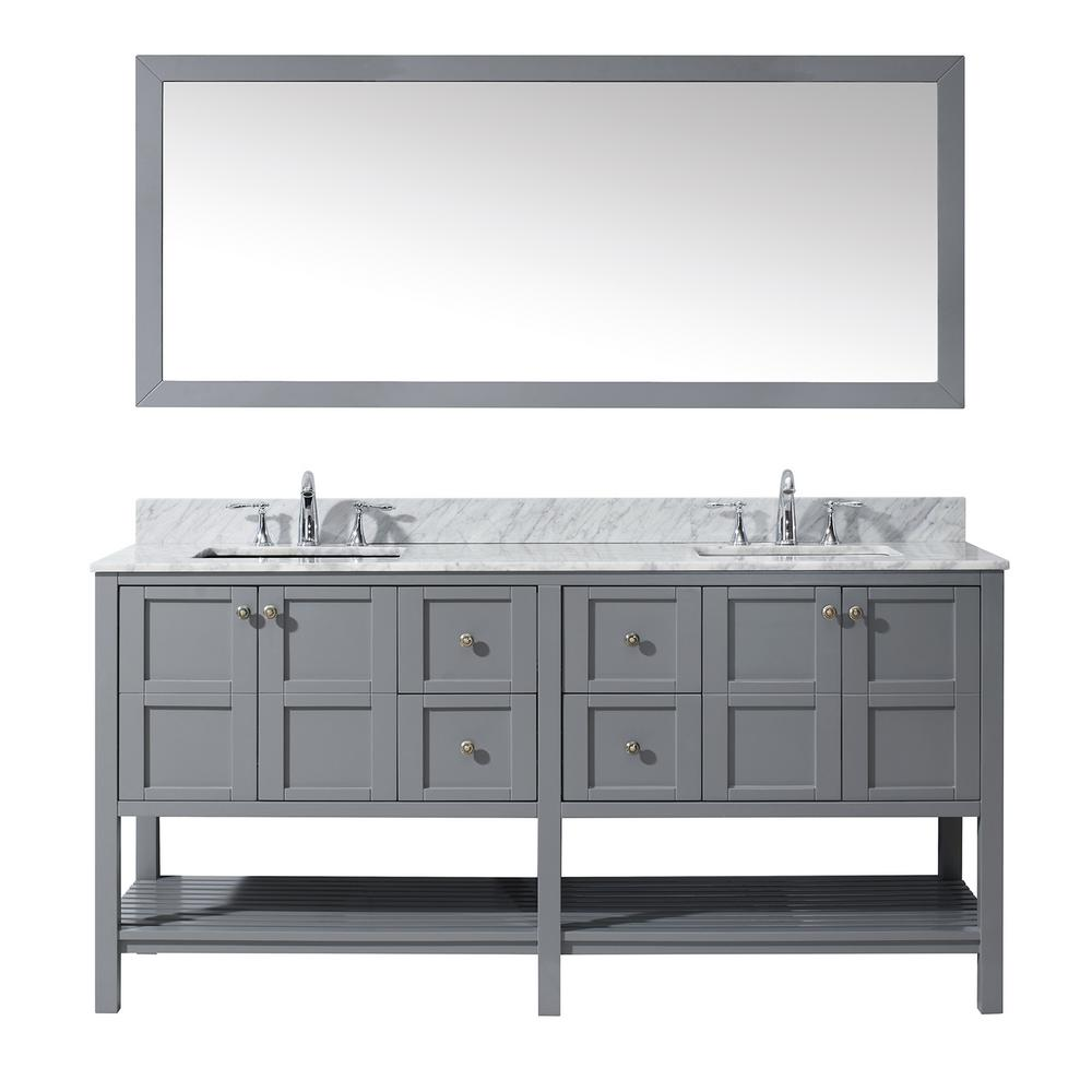 Virtu Usa Winterfell 72 In W Bath Vanity In Gray With Marble