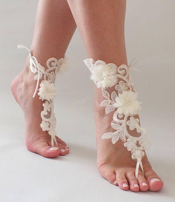 Beach wedding barefoot sandals,Bride beach sandals,gold lace barefoot sandals,anklets