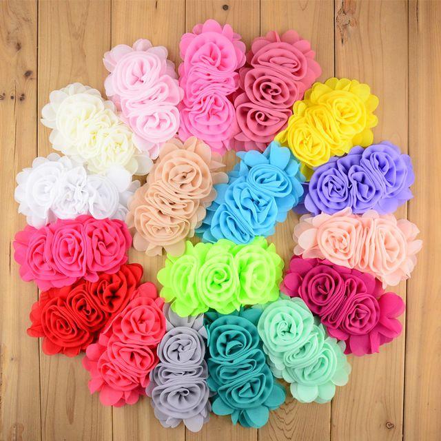 Fabric flowers Pink Rosette Hot Pink Chiffon Flowers DIY headband flowers 2 Rosebuds with leaf