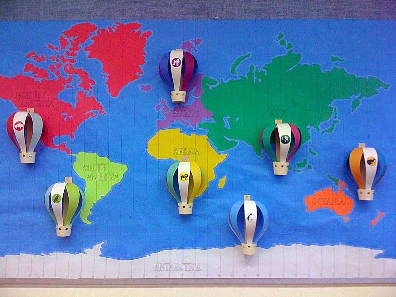 Esl Classroom Decoration ~ World map hot air balloons esl classroom decor