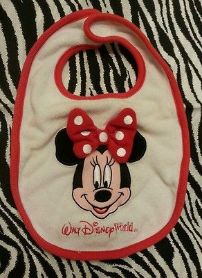 Disney Minnie Mouse Velcro Bib Baby Girl Toddler | eBay