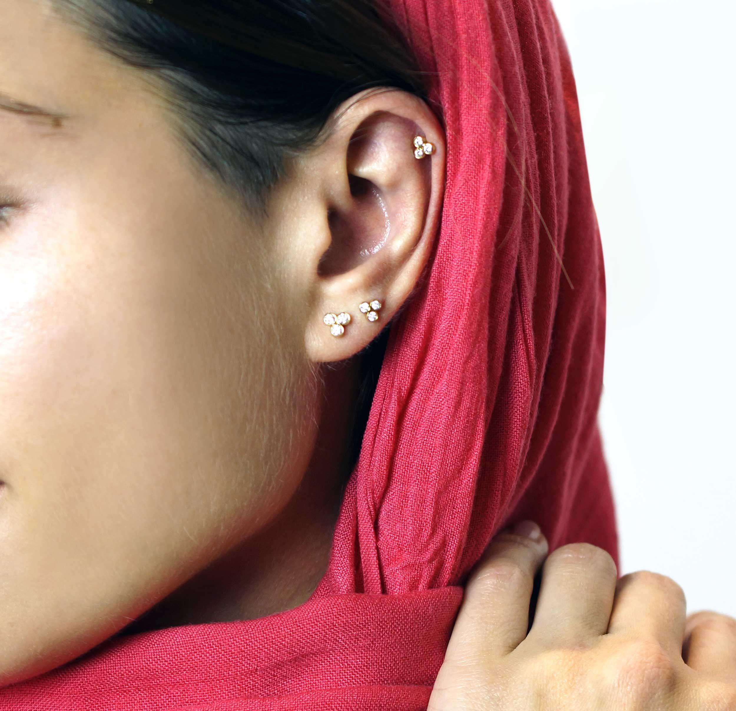 c9cae870f Triple Diamond Triangle 18K Yellow Gold Cartilage Piercing Stud Medium  Sizes | LENA COHEN