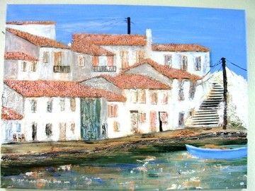 Griechische Insel  Acryl- Collage     60 x 80 x 2cm   110,00 € Noch 2 Tage 20 % Rabatt
