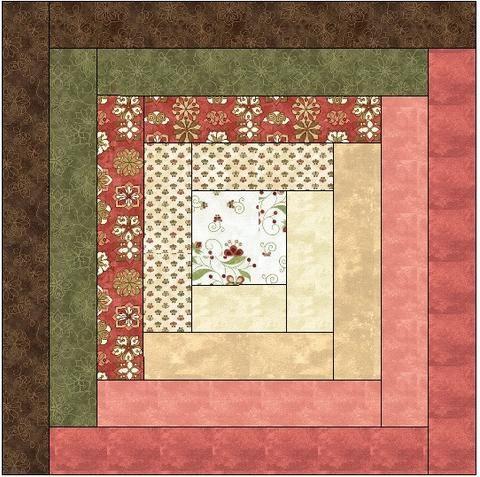Traditional Log Cabin Quilt Block Pattern Download | Quilt ... : log cabin quilt square - Adamdwight.com