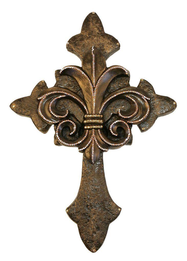 Decorative Wall Cross With Fleur De Lis Bronze With Gold Swarovski