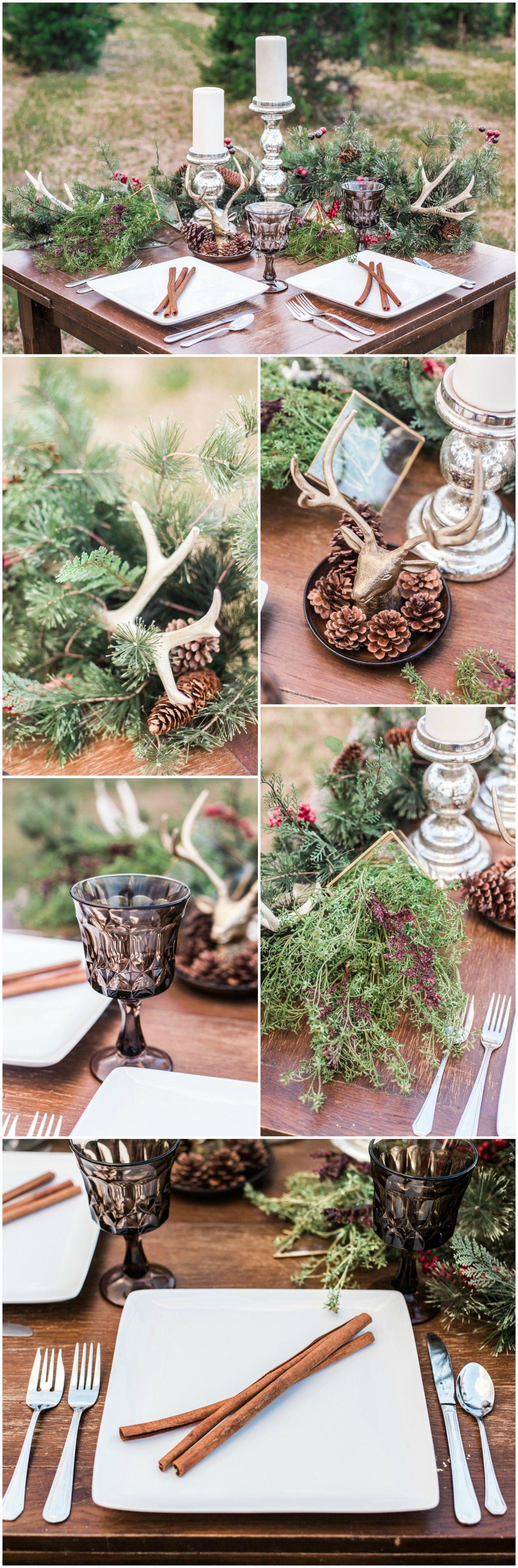 winter wedding reception christmas themed table design pine cones rh pinterest com