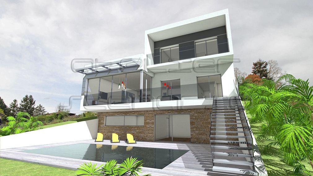 Plan Maison Architecte - Maison contemporaine à porte à faux sur
