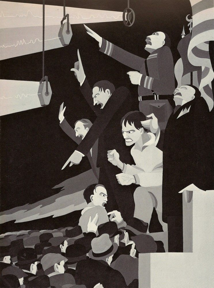 """The Leaders"" by John Vassos, Circa 1935, part of the Humanities Concept Series.  ""Innumerable prophets ready to lead us."""