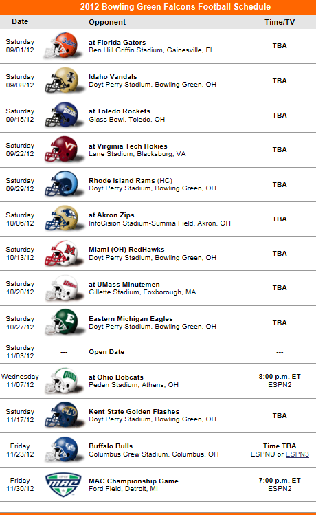 Bowling Green State 2012 Football Schedule California