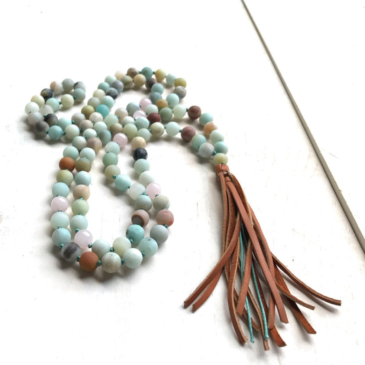 Leather Tassel Mala Beads Amazonite Mala Necklace 108 Bead Mala