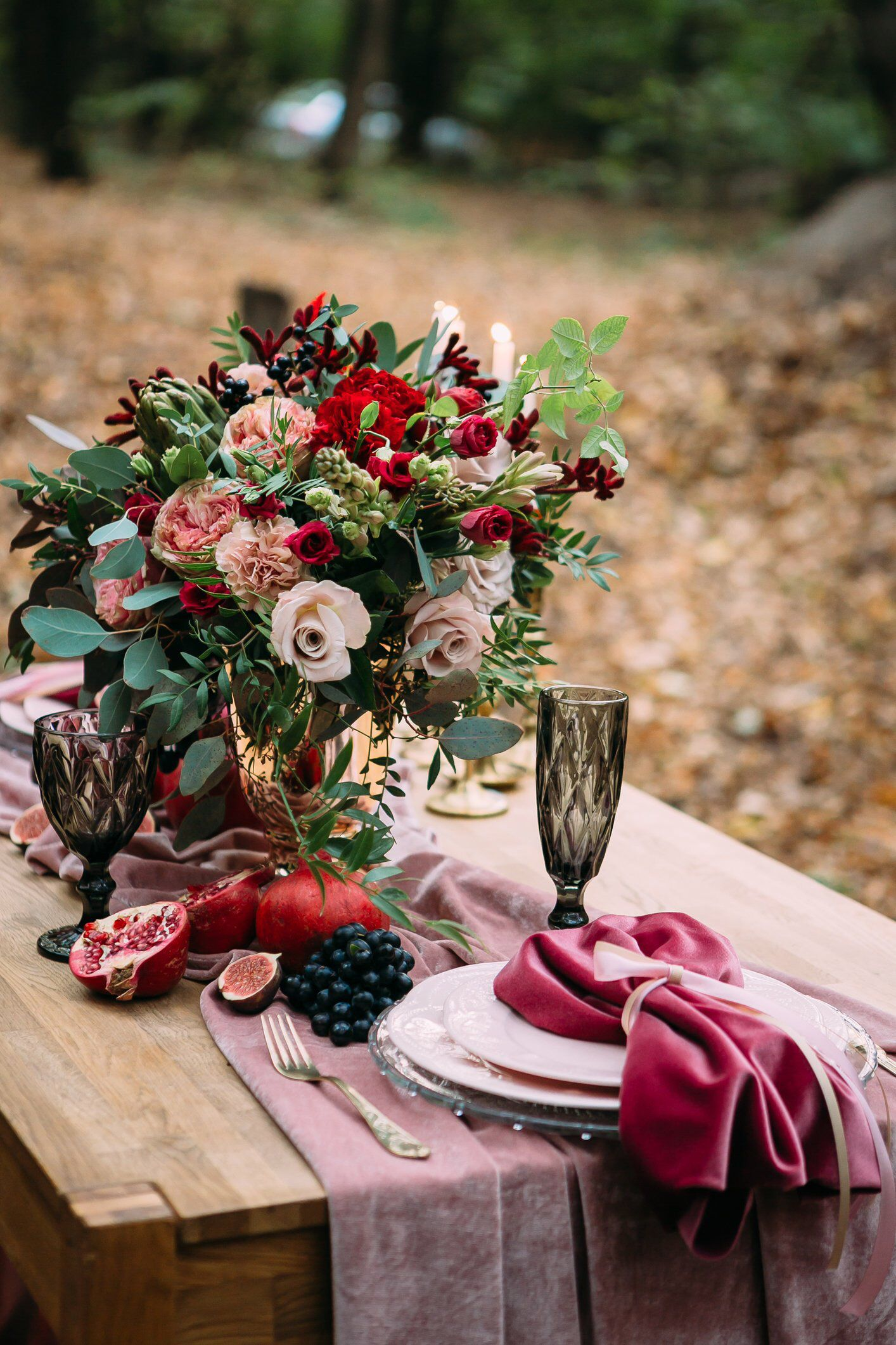 Pink and maroon wedding decor  Blush pink Velvet Table Runner Wedding Table Runner Table