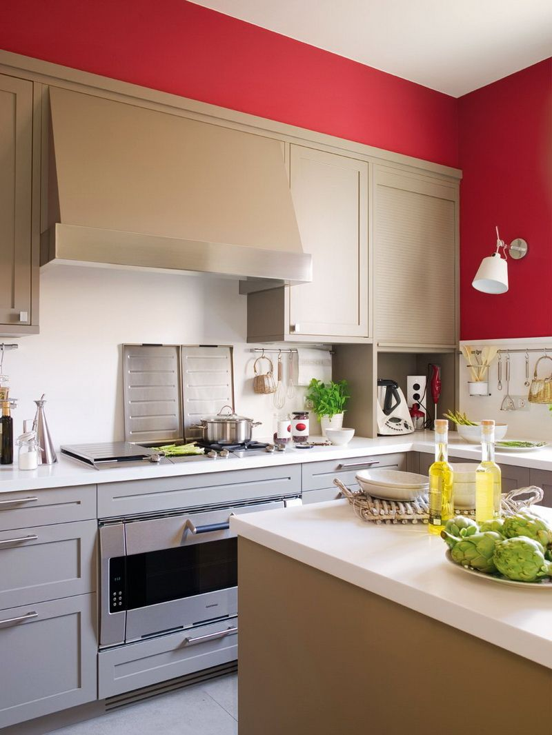 modern beige kitchen design with red walls | digsdigs | buried