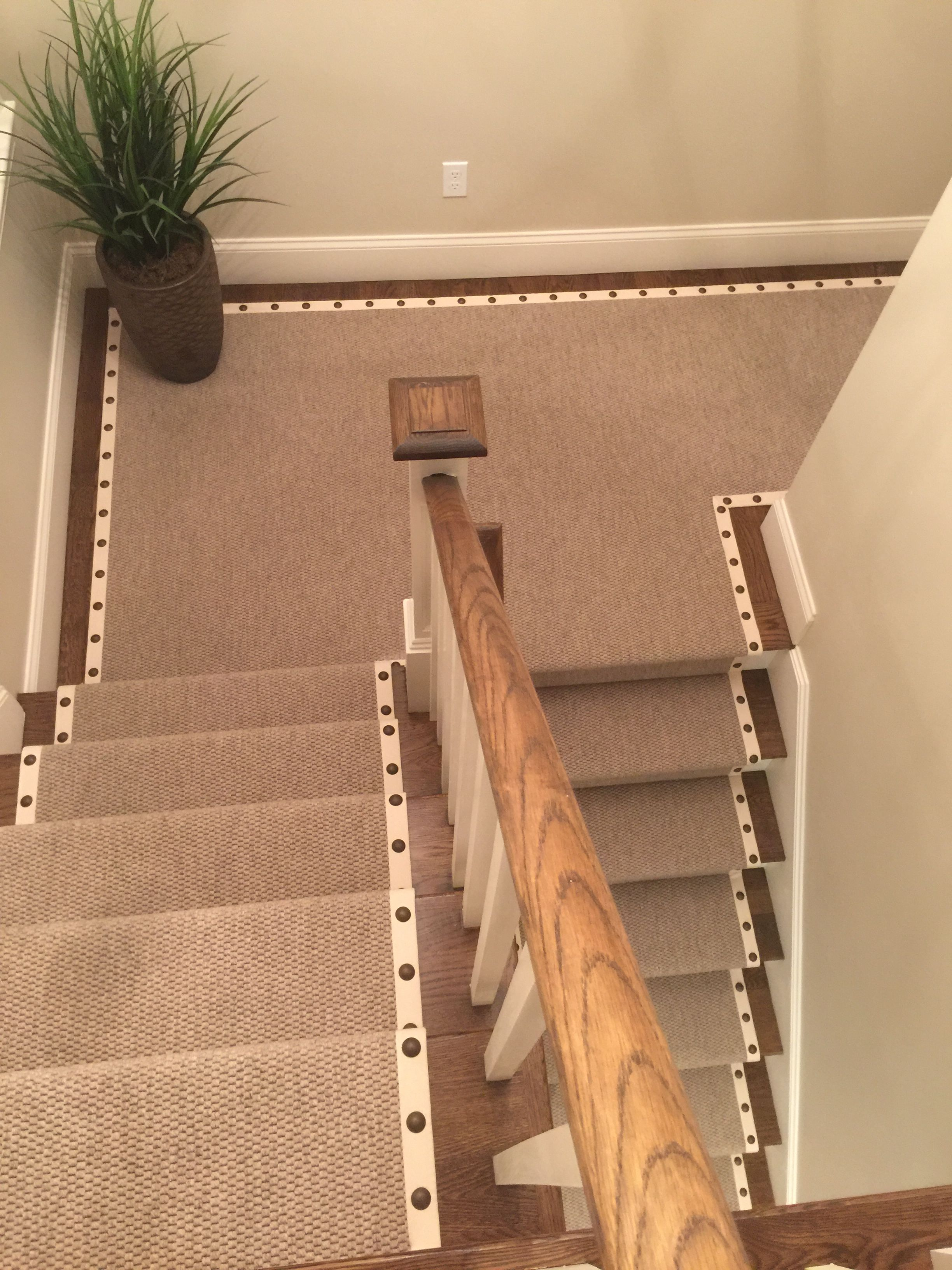 nailhead stair runner house ideas basement stairs carpet rh pinterest com