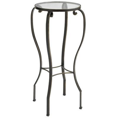 Chasca Glass Top Brown Round Pedestal Table Whatabuy And
