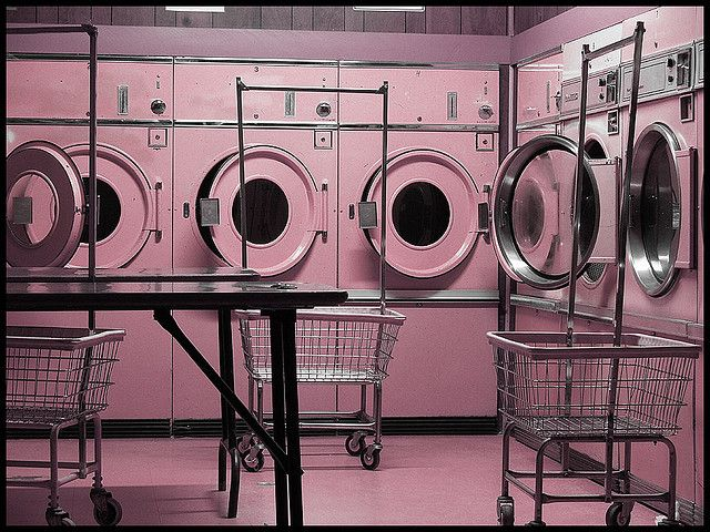 Laundry laundromat naked at