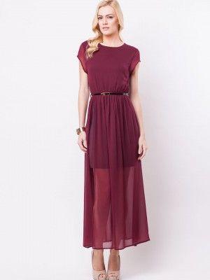 Koovs Belted Split Maxi Buy Womens Redblack Maxi Dress Online In