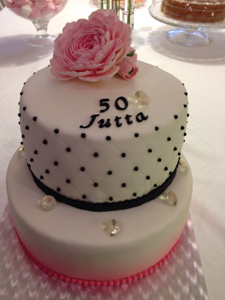 Birthday Cake With Fondant Peony On Top And Edible Diamonds Cakes