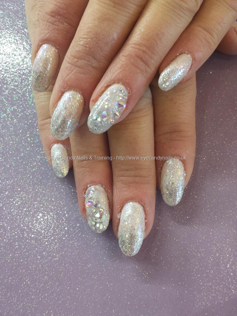 White and silver glitter fade with swarovski crystals ...