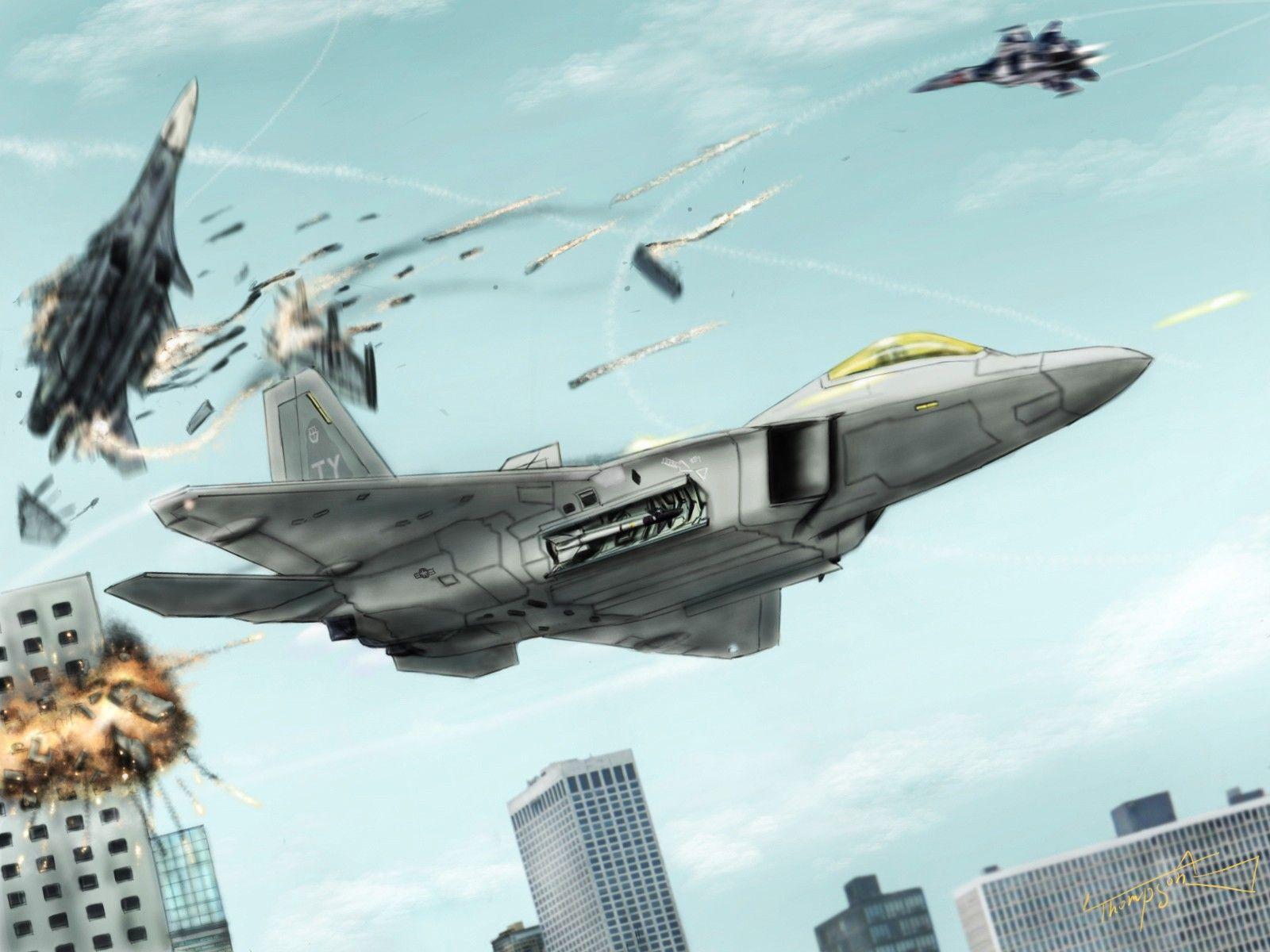 F 22 Raptor And Su 27 Flanker Infinity Wallpaper Widescreen