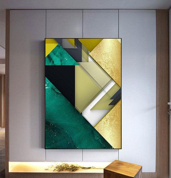Green Black Gold Foil Minimalist Geometric Printable Etsy Geometric Printable Geometric Art Abstract