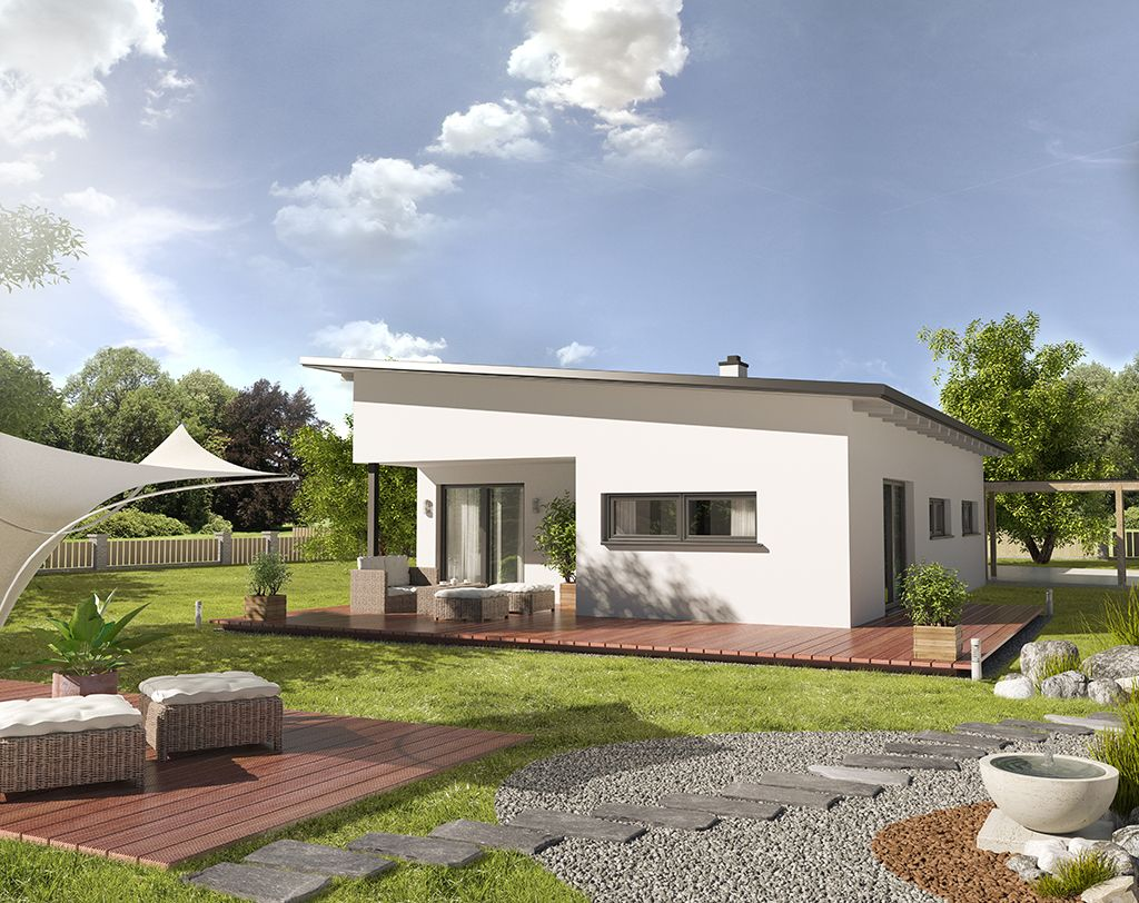 3d visualisation ch bungalow pultdach h user pinterest for Moderner bungalow mit satteldach