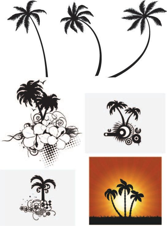 Palm tree silhouette vector clip art digital download images any size any color