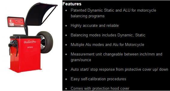 Bulletpro Bp809 Wheel Balancer With Hood Cover Semi Automatic Garage Equipment Cover Auto Start