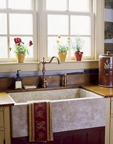 Farmhouse Kitchens · Wine Colored Cabinet Under Sink. Custom Panel The  Dishwasher And Paint It To Match Other