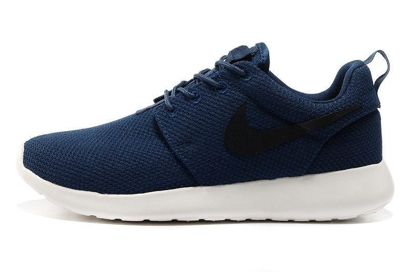 the latest 83af9 53cc9 Nike Roshe Run Mesh Hombre Zapatos de Running DLA112-Azul Marino /Negro/Blanco