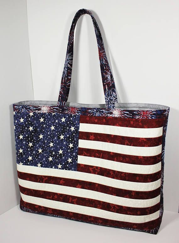 American Flag Quilted Tote Bag Pattern With Easy Zipper Etsy