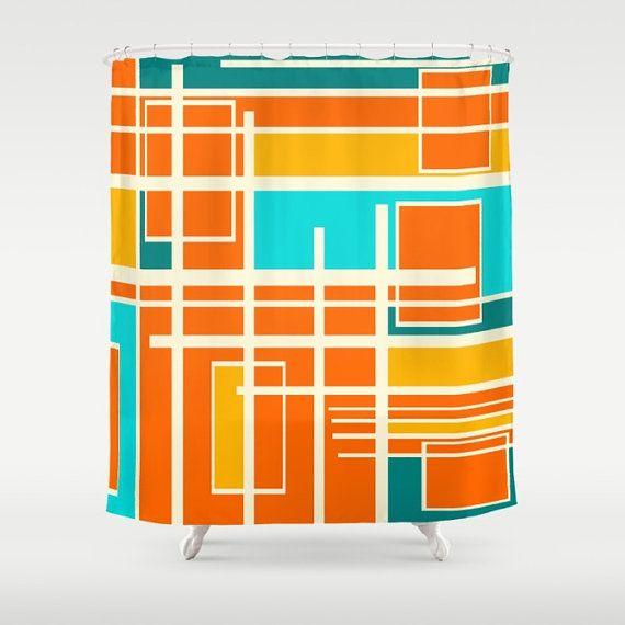 Mid Century Modern Print Shower Curtain Retro Shower Curtain Mid