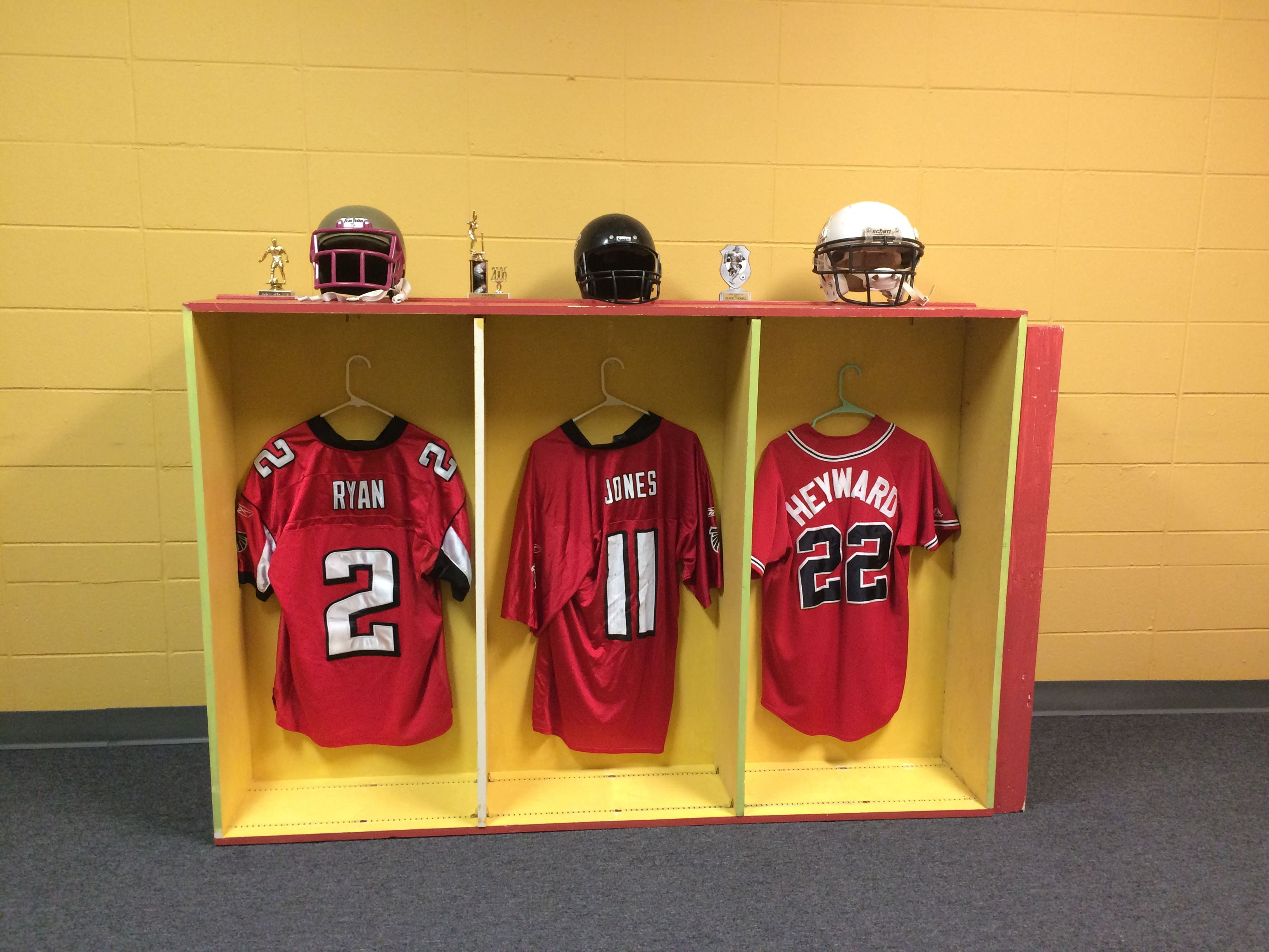Locker Room For Go Fish S Victory Vbs Book Shelf Turned On Its Side Command Hooks Used To Hang Jerseys Vbs Themes Vbs Crafts Vbs