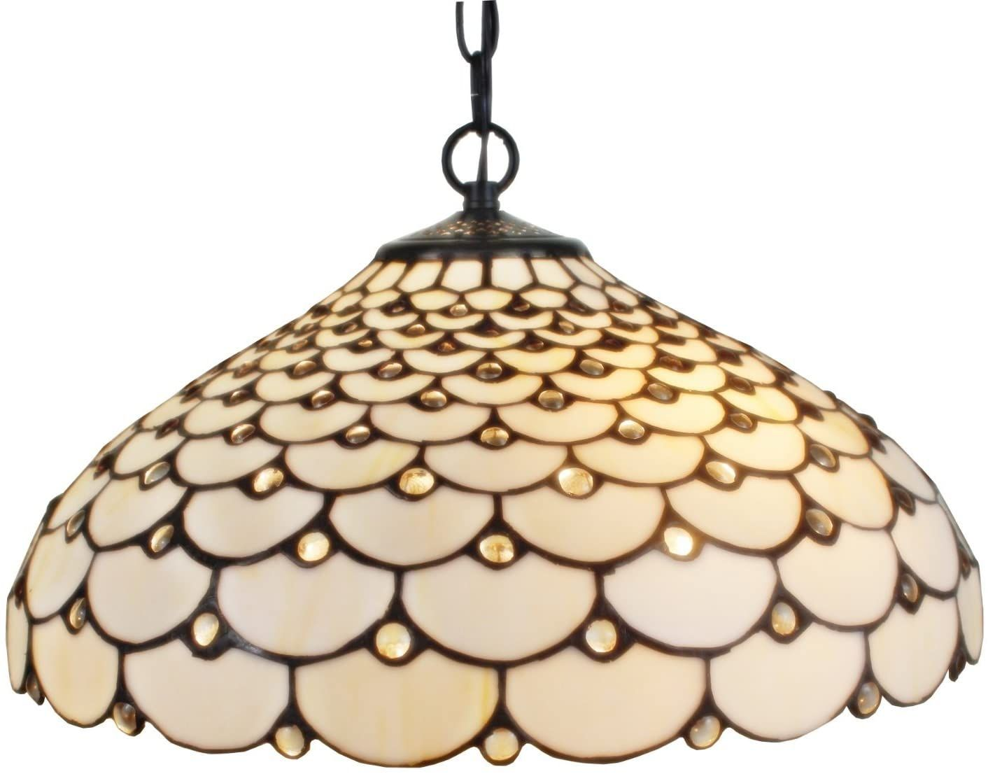 Amora Lighting Tiffany Style Hanging Pendant Lamp White Jeweled Ceiling 18 Wide Stained Glass Shade Vintag Tiffany Style Hanging Pendants Hanging Pendant Lamp