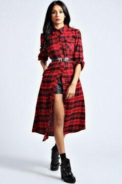 Aimee Checked Shirt Maxi Dress - Nouveautés - Vêtements Femme