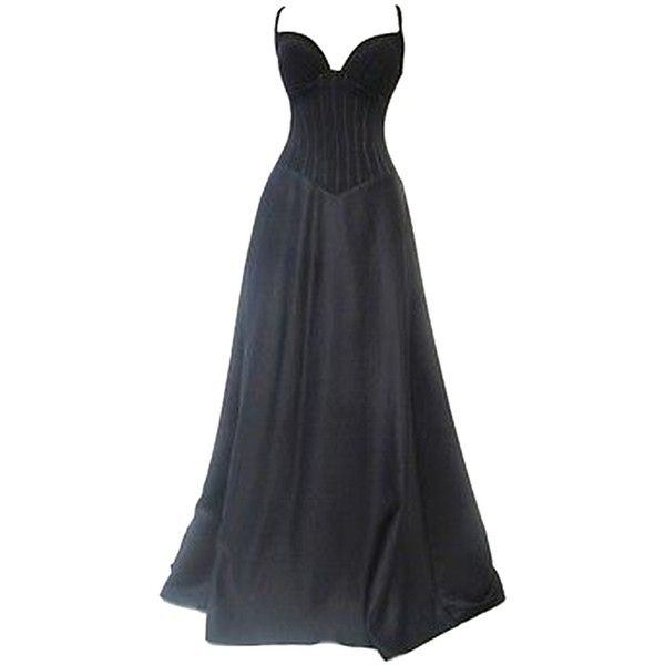 Tadashi Black Gown ($235) ❤ liked on Polyvore