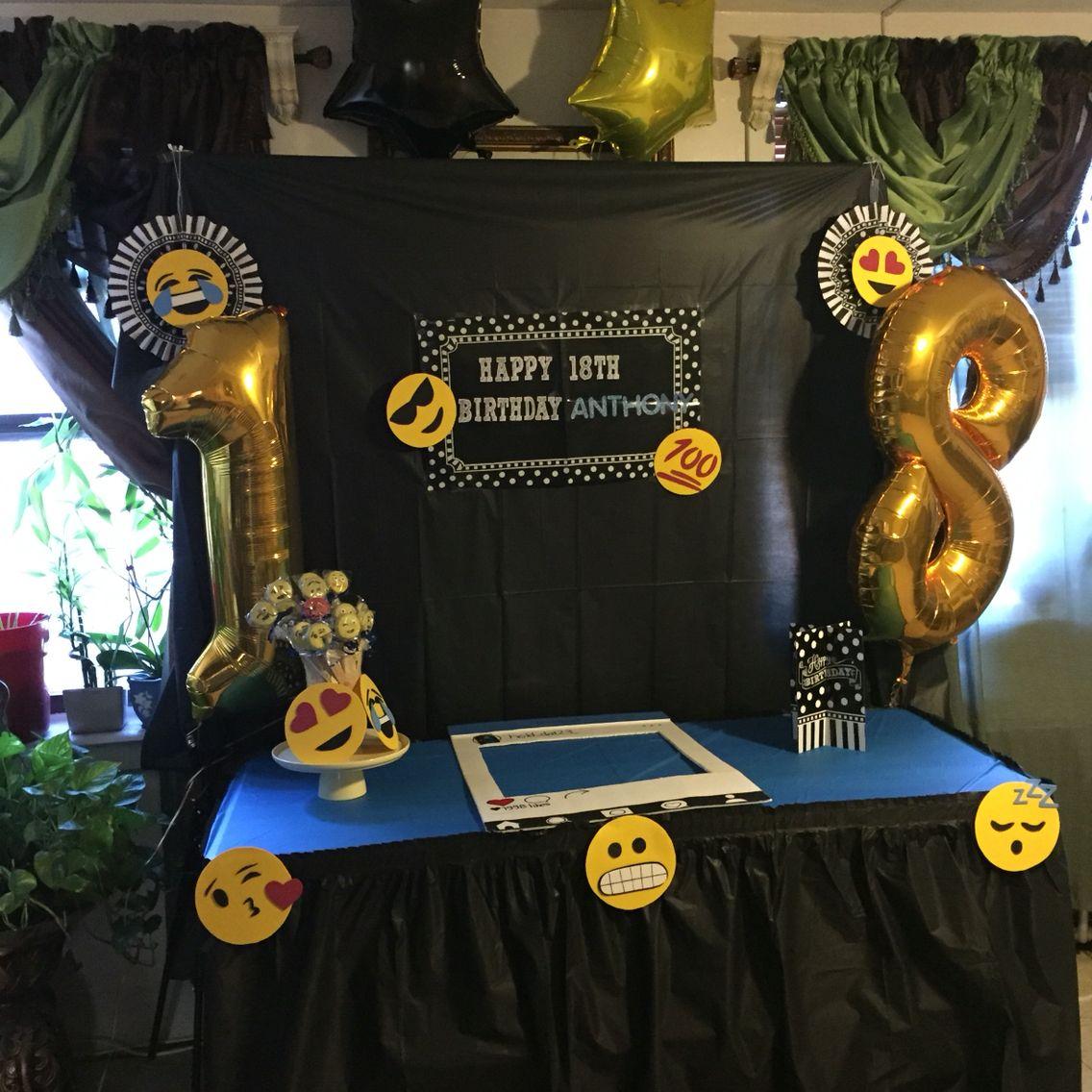 Birthday Party, Emoji, 18th Birthday, Backdrop