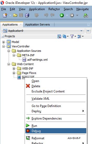 How to debug Application in WebLogic domain using JDeveloper 12C