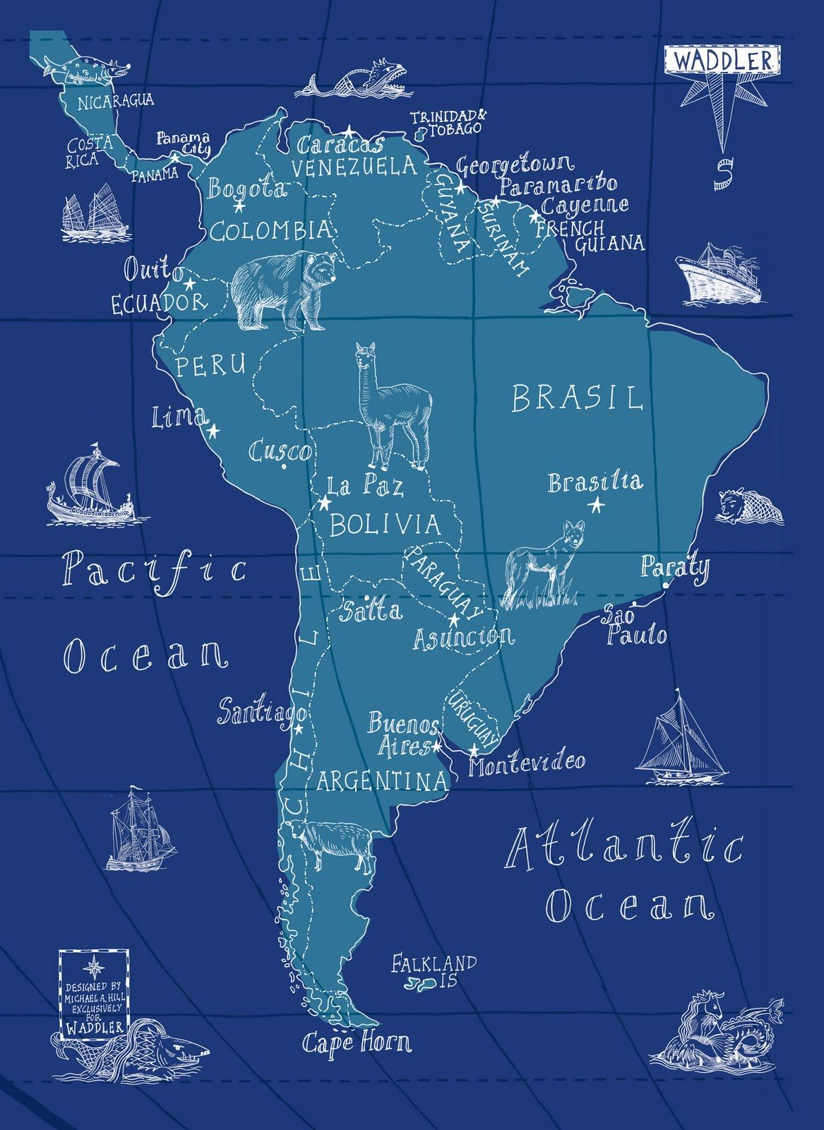 Map wrap by Michael Hill #map #graphic #illustration #travel #blue #handwriting   South america map, Illustrated map, South america travel