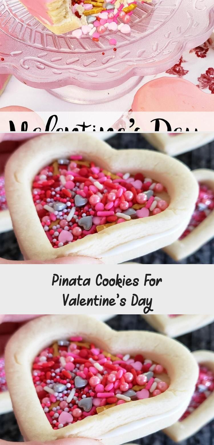 Photo of Pinata sugar cookies filled with sprinkles.  #ValentinesDay #PinataCookies #Cook…
